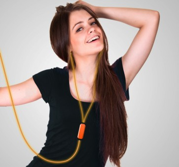 Orange Headphones with dancing light
